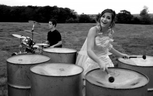 Musical director, Bethany, can't resist playing at her own wedding.